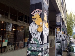 The column arcade outside Hippo Hardware.