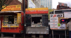 Food carts are everywhere. These are right next to Mother's Bistro.