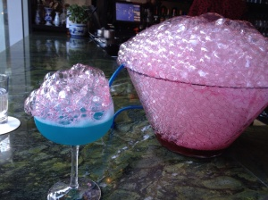 The bar and restaurant Bambuddha serves up unique cocktails including this blue one topped with bubbled hibiscus.